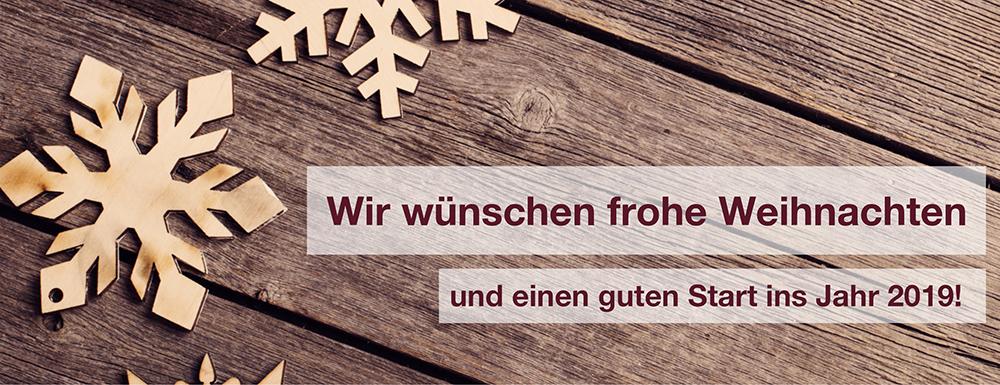 Wir wünschen frohe Weihnachten und einen guten Start ins Jahr 2019!